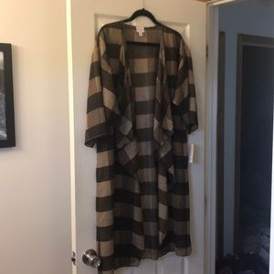 Brand new LLR Shirley kimono- brown plaid